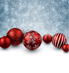 Winter background with red christmas balls vector image