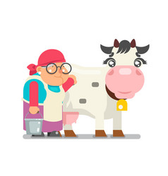 milkmaid farmer granny adult rancher old age woman vector image vector image