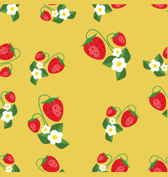 seamless pattern with strawberries leafs and vector image