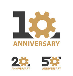 10 20 50 years anniversary industry gear vector