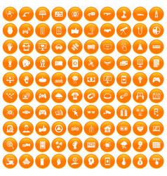 100 hi-tech icons set orange vector