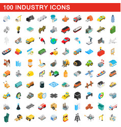 100 industry icons set isometric 3d style vector