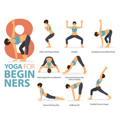 8 yoga poses for beginners infographic vector image