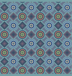 a blue pattern with circles and diamonds vector image