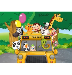 A zoo bus with animals vector