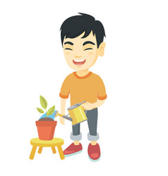 asian boy watering plant with a watering can vector image
