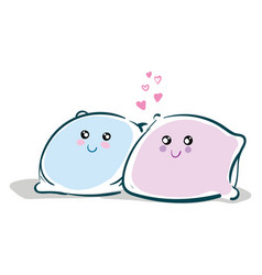 baby bluen and pink cute pillows with cute eyes vector image