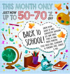 back to school sale discount offer poster design vector image