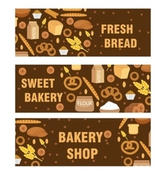 Bakery products banner flat style Set of vector image