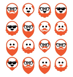 Bald man with ginger beard and mustache icons set vector image
