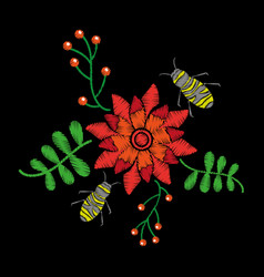 Beautiful embroidery flower bees fly and berries vector