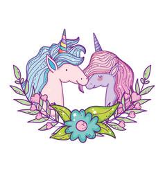 beautiful little unicorns couple heads vector image