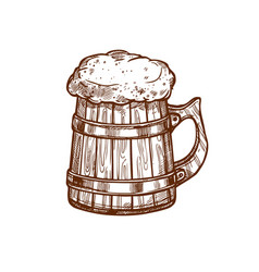 Beer mug sketch icon vector