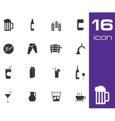 black beer and beverage icons set on white vector image vector image