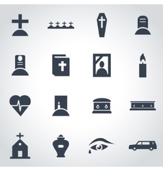 black funeral icon set vector image