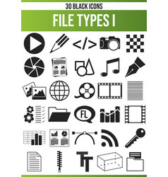 Black icon set file types i vector