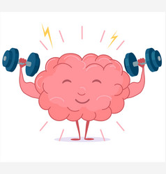 Brain training with dumbbells mind workout vector