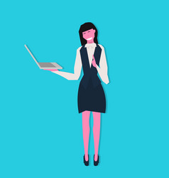businesswoman holding laptop online communication vector image