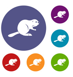 canadian beaver icons set vector image