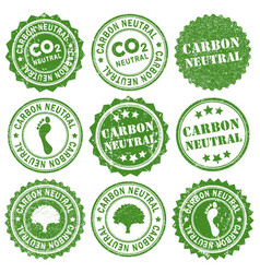 carbon neutral co2 rubber ink grunge stamp green vector image