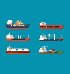 cargo ships set large transport water carriers vector image