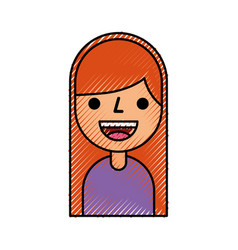 cartoon girl female character profile people young vector image