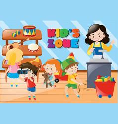 Children buying things in kids zone vector