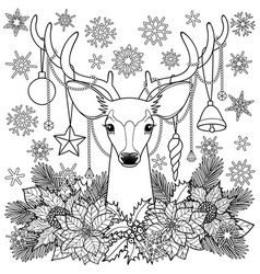christmas deer outline composition vector image