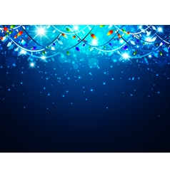 Christmas holiday background with lights and stars vector