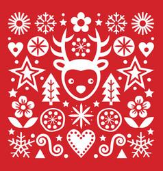 christmas scandinavian folk art pattern vector image