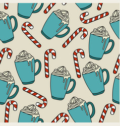 christmas seamless pattern with hor chocolate and vector image