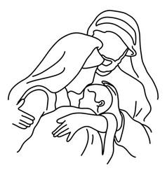close-up christmas nativity scene joseph and vector image