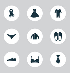 clothes icons set with gumshoes bra scarf and vector image