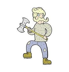 comic cartoon man with axe vector image