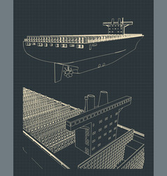 Container ship blueprint vector