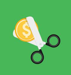 Cost cut icon price cheaper reduce flat vector