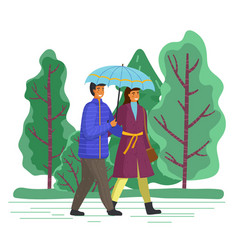 couple goes in rain happy man and woman vector image