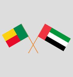Crossed flags benin and united arab vector