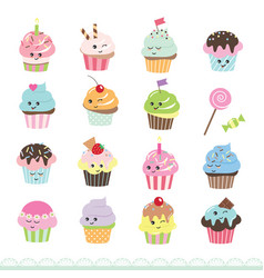Cute cupcakes set isolated on white vector