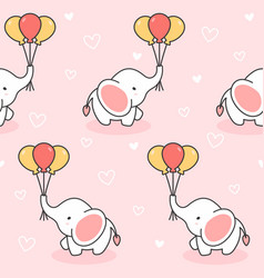cute elephant and balloons seamless pattern vector image