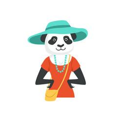 Cute fashion panda bear girl character hipster vector