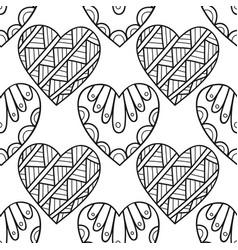 decorative hearts black and white vector image