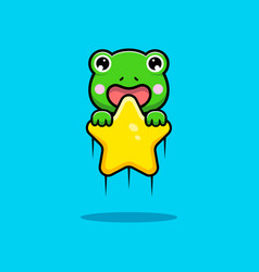 Design cute frog floating with star vector