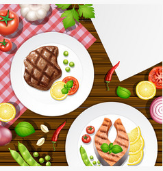 different menu on wooden table vector image