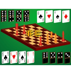 domino cards dice chess vector image