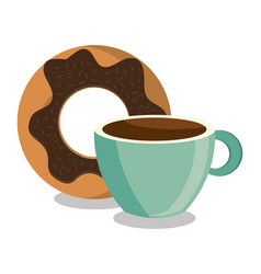 Donut sweet dessert isolated vector