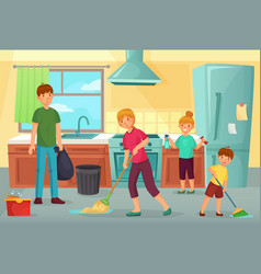 family cleaning kitchen father mother and kids vector image