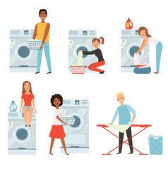 female characters in laundry pictures set vector image