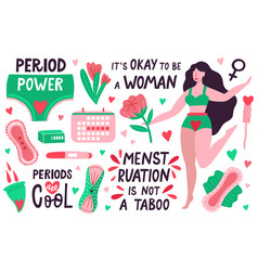 female periods menstruation hygiene tools period vector image