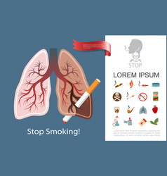 flat smoking addiction composition vector image